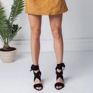 Raye x Revolve Mia Suede Ankle Wrap Block Heels.